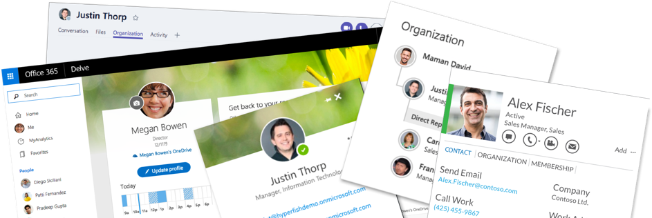 Collage of where profile photos are in Office 365